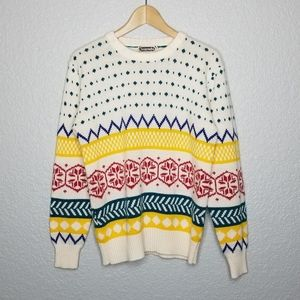 Vintage Patterned Snowflake Multicolor Sweater S